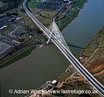 Flintshire Bridge, a suspension bridge spans the Dee Estuary at Connah's Quay, south east of Flint, North Wales