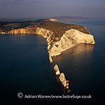 The Needles, a row of three stacks of chalk, off the western extremity of the Isle of Wight, close to Alum Bay, England