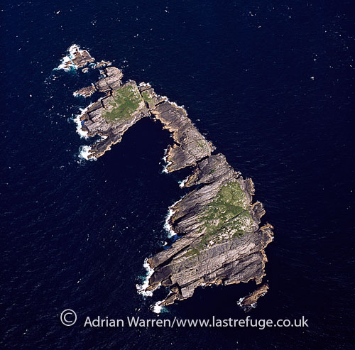 Haskeir Island (Great Haskeir), a remote, exposed and uninhabited island in the Outer Hebrides, 13?kilometres west north west of North Uist., Outer Hebrides, West Coast Scotland