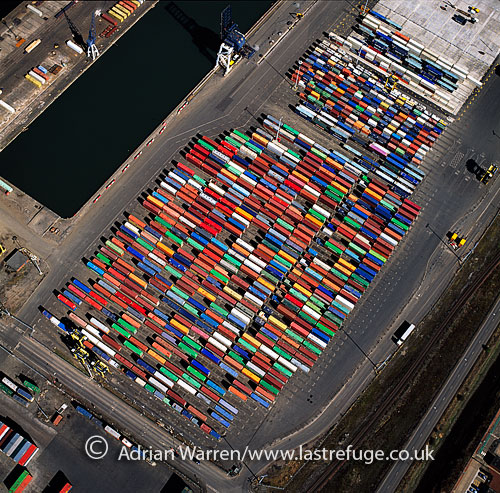 Shipping containers stacked at Grangemouth Docks, Lowlands, Scotland