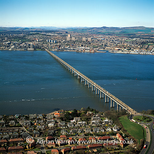 Tay Road Bridges & Dundee in distance, Firth of Tay, Scotland, Lowlands, Scotland