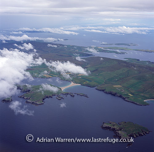 St Ninians, with Colsay Isle in foreground and Shetland Mainland in background, Shetland Islands, Scotland