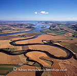 Meanders on the River Earn as it meets the River Tay, South east of Perth, Lowlands, Scotland