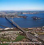 The Forth Road Bridge and the Forth Railway Bridge over the Firth of Forth in the east of Scotland, Lowlands, Scotland