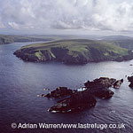 Muckle Flugga and Lighthouse, a small rocky island north of Unst, Herma Ness in background, Shetland Islands, Scotland