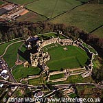 Denbigh Castle, Above Denbigh town centre, stone keep and bailey, North Wales