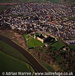 Rhuddlan Castle and river Clwyd, In Rhuddlan town centre, Denbigshire, North Wales