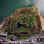 Criccieth Castle, On coast at Criccieth, just west of Porthmadog. Stone ruin with twin towered gatehouse on headland., North Wales