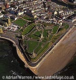 Aberystwyth Castle and Town, In Aberystwyth, on the coast, large stone ruins, South Wales
