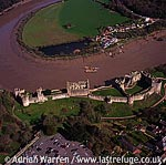 Chepstow Castle, Impressive stone keep and curtain wall, overlooking river Wye, Chepstow, South Wales