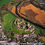 Kidwelly Castle overlooking the river Gwendraeth, Near Kidwelly town centre, Dyfed. Impressive stone ruin, South Wales