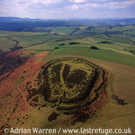 Caer Caradoc Hill Fort, Iron Age Hill Fort 2.5 miles NE of Knighton, Shropshire, South Wales