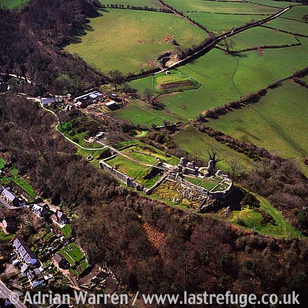 Montgomery Castle, Powys , 7 m south of Powis castle, Montgomeryshire. Stone enclosure fortress on a narrow ridge, North Wales