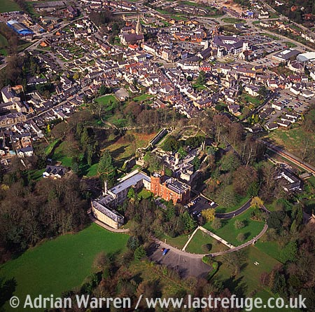 Ruthin Castle, In Ruthin town centre, WNW of Wrexham. Stone Edwardian keep and bailey fortress, Denbighshire, North Wales