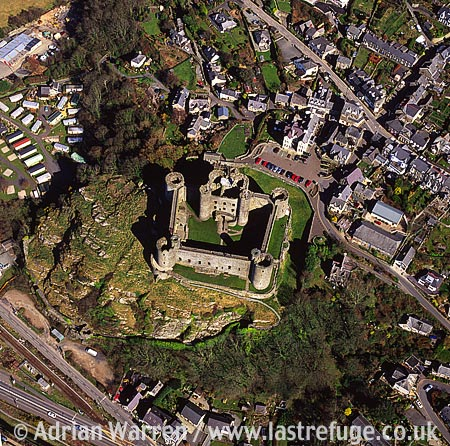 Harlech Castle, Town centre. 26 m south of Caernarfon. Stone concentric enclosure fortress, North Wales