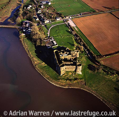 Carew Castle on the Carew River, 3 m E of Pembroke. Impressive stone ruin, largely intact minus roof, Dyfed, South Wales