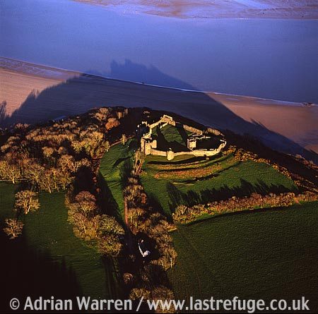 Llansteffan Castle overlooking the River Tywi in the village of Llansteffan in Carmarthenshire, South Wales