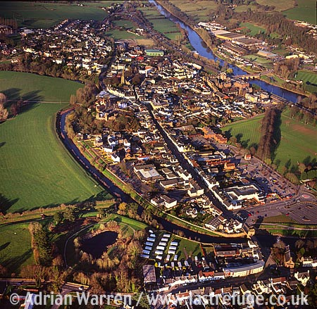 Monmouth Town situated at the confluence of the River Wye and River Monnow, South Wales