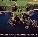 Dunnottar Castle, medieval fortress, on a precipitous rocky headland, north-east coast of Scotland, 2 miles south of Stonehaven, Lowlands, Scotland