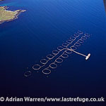 Salmon farming, east coast of Shetland Mainland, Shetland Islands, Scotland