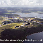 Sullom Voe Oil Terminal (Sullom Voe, an inlet between North Mainland and Northmavine), mainland Shtland, Shetland Islands, Scotland