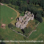 Ury House, a ruined Elizabethan style large mansion, near Stonehaven, Aberdeenshire, North-East coast of Scotland.