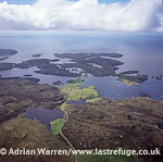looking north west from Loch of Hostigates to Isle of Vementry, Shetland, Scotland