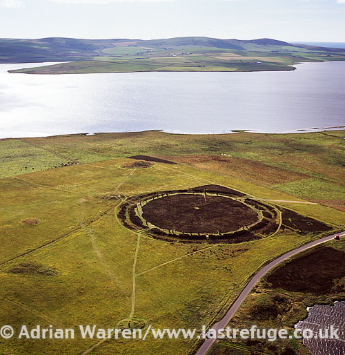 The Ring of Brodgar (or Brogar), a Neolithic henge and stone circle in Orkney, The ring of stones stands on a small isthmus between the Lochs of Stenness and Harray, Orkney Islands, Scotland