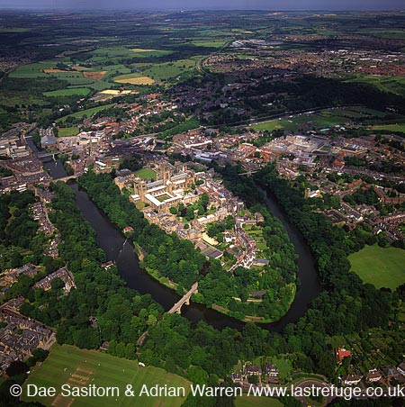 Durham Castle, Cathedral, city and the river Wear , Durham, England