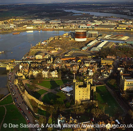 Rochester Castle, at the lowest bridging point of the River Medway, Kent, England