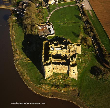 Carew Castle on the river Carew, 3 m E of Pembroke. Impressive stone ruin, largely intact minus roof., South Wales