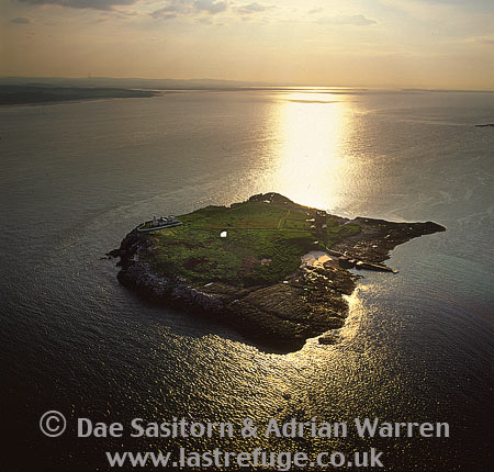 Inner Farne and its lighthouse, Farne Islands, near Bamburgh Northumberland, England