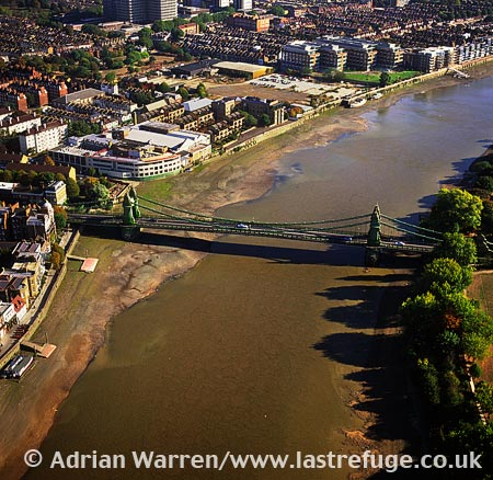 Hammersmith Bridge over the River Thames, London, England
