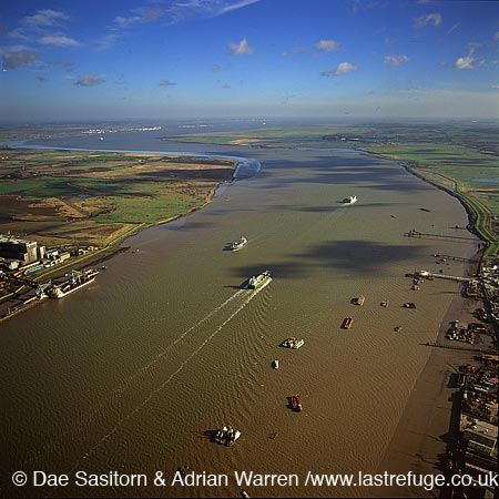 From Gravesend looking east towards the Estuary of the River Thames, Kent, England