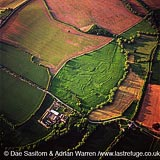 Middle Ditchford, ancient settlement earthwork, Gloucestershire, England