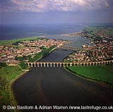 Three bridges at Berwick-upon-Tweed: the Royal Border Bridge (railway viaduct), the Royal Tweed Bridge and Old Bridge, Northumberland, England