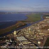 Oil refinery on the river Mersey, Merseyside, England