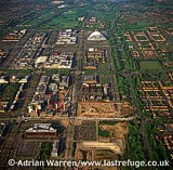 Milton Keynes, shows its grid system, Cathedral and Xscape (Snow Zone), Buckinghamshire, England