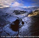 Mountain ridges in snow, Lake District National Park, Cumbria, England