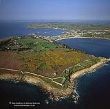 The Garrison walls at St Mary's Island, Scilly Isles, Cornwall, South West England, England