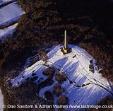 Wellington Monument in snow, Somerset, England