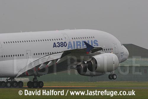Airbus A.380-800 (F-WWOW) Airbus company demonstrator landing at the Salon de l'Aviation (Paris Air Show), Le Bourget, Paris, France - June 2005