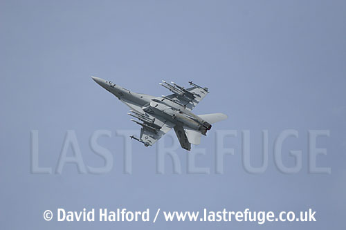 Boeing (McDonnell Douglas) F-A-18F Super Hornet (AA-166633) of the US Navy (USN) flying at the Salon de l'Aviation (Paris Air Show), Le Bourget, Paris, France - June 2005