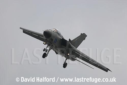 Panavia Tornado IDS MLU (MM 7015) of the Aeronautica Militare Italiana (AMI) or Italian Air Force landing at the Salon de l'Aviation (Paris Air Show), Le Bourget, Paris, France - June 2005