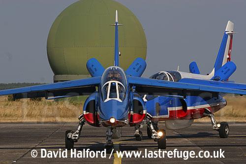 Dassault-Breguet/Dornier Alphajets (1 + 2) of the French Air Force's Patrouille de France taxying, Cazaux Air Base, Landes, France - June 2005