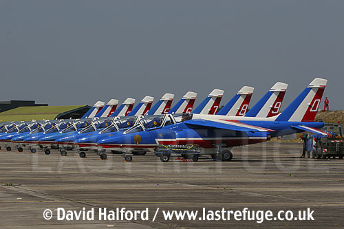 Dassault-Breguet/Dornier Alphajets of the French Air Force's Patrouille de France, Cazaux Air Base, Landes, France - June 2005