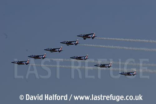 Dassault-Breguet/Dornier Alphajets of the French Air Force's Patrouille de France, Cazaux Air Base, Landes, France / June 2005