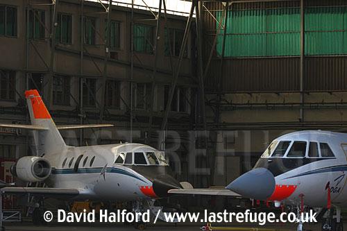 Dassault Falcon 20s (96-CB+131-CD) of CEV-02, Cazaux Air Base, Landes, France - June 2005