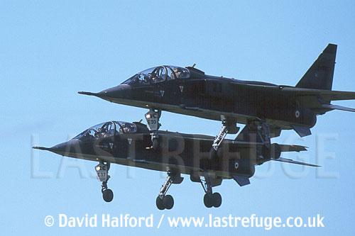 SEPECAT Jaguar Es x 2 of Armee de l'Air (French Air Force) flying, RAF Cosford, UK, U.K., United Kingdom / June 2002