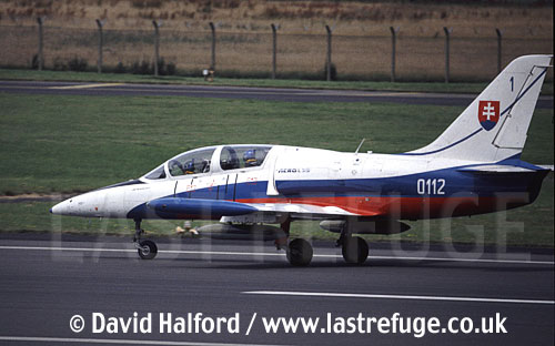 Aero L-39 (0112) of Slovak Air Force's White Albatrosses team / Royal International Air Tattoo (RIAT) / RAF Fairford / July 1998